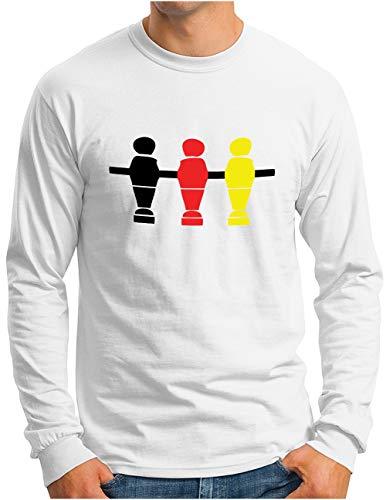 OM3® Deutschland Langarm Shirt | Herren | Fussball Kicker Tischkicker | Weiß, XXL