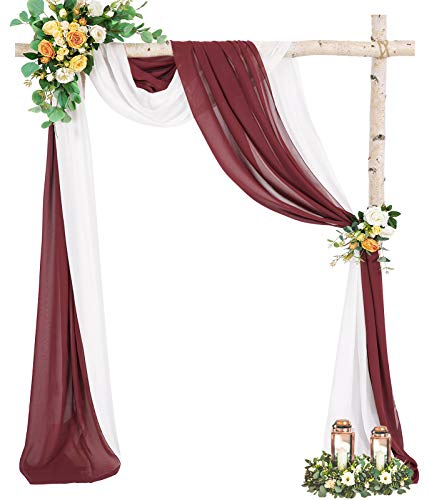 Chiffon Drapping Backdrop Curtain Panels Wedding Decorations Arch Ceremony Reception White+Burgundy Party Photography Backdrop Home Events Decoration 6 Yards