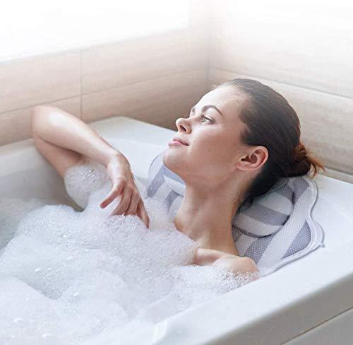 Bath Pillow Spa Bathtub Pillow Ergonomic Bathtub Cushion for Neck, Head & Shoulders, Luxury Bathtub Cushion, 3D Air Mesh for Men and Women,Fits for Jacuzzi, Hot Tub