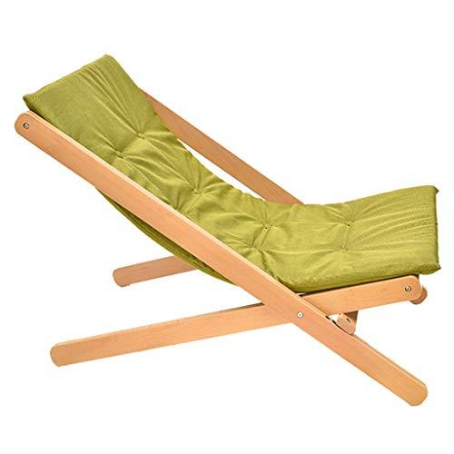 Chaise pliante en bois Canapé de jardin Chaise longue avec coussin éponge à haut rebond Chaise longue de jardin Chaise de terrasse Chaise de jardin (Couleur : Green)