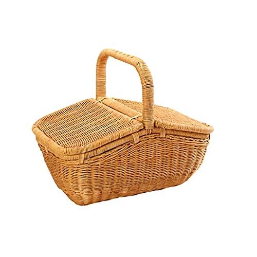 Camping-Picknickkorb, natürlich, gewebt, umweltfreundlich, aus Raufaser, für Outdoor, Strand, Reisen, Outdoor-Erholung (Farbe: Gelb, Größe: Klein) ZJ666 (Farbe: Gelb, Größe: L)