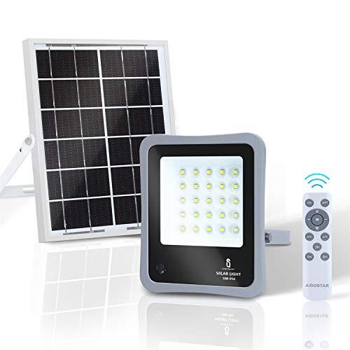 Aigostar - Foco proyector LED solar con mando a distancia, 50W, 6500K luz blanca. Resistente al agua IP65. Perfectos para exterior jardín, patios, caminos o garajes