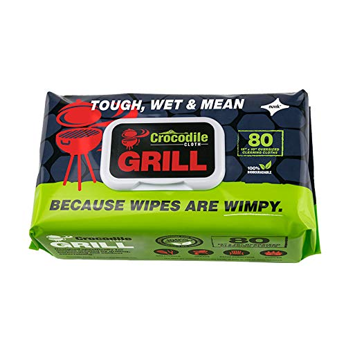 Crocodile Cloth Grill Cleaning Wipes - Grill Grate and BBQ Disposable Wipes - Cut Through Grease, Oil, Fat, and Dirt on Your Grill, Tools, Patio and More - 80 Giant Commercial Strength Wipes