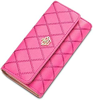 Women's Fashionable Metal Crown Style PU Leather RFID Blocking Clutch Wallet for Women and Girls