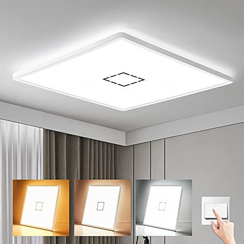 Oraymin Ultra Dünn 2.85cm LED Deckenleuchte Flach Panel, 22W 2400LM LED Deckenlampe Bad, 2700K/4000K/6500K, IP44 Wasserdicht LED Badlampe für Badezimmer Wohnzimmer Schlafzimmer Balkon Flur, 42x42cm