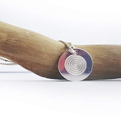 Minimalistische Kette, Runder Anhänger mit Gravur, Spirale, 925 Silber