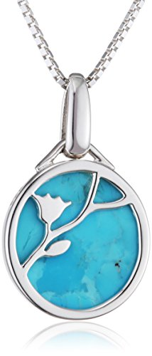 Elements Silver Collar de Plata de Ley con Turquesa para Mujer, 46 cm