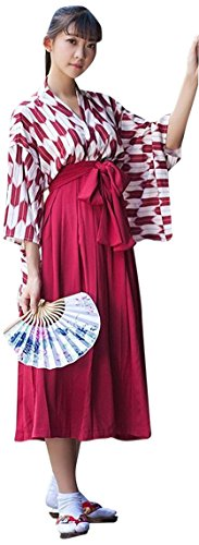 【ノーブランド品】 矢羽柄 和式 プリント 改良 着物 和服 上下セット 日本式 ふわふわな彼女 羽織 上着 アンド プリーツスカート 浴衣 L ロングレッド