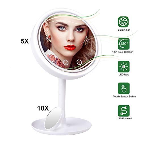 STLOVe Espejo de Maquillaje LED, 5 aumentos, Espejo de Mesa con iluminación LED y función de Ventilador, Giratorio 360°, Dos Modos de alimentación (batería o Puerto USB), Color Blanco