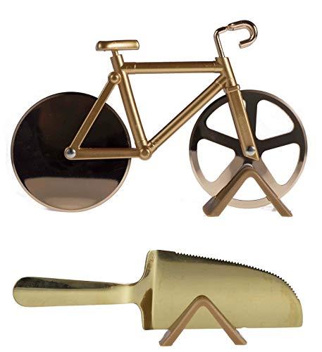Pizza Bike fahrrad Shaped Cutter Edelstahl Pizzaschneider Radrolle mit Pizzaschaufel, beste Küche Pizza / Kuchenschneider