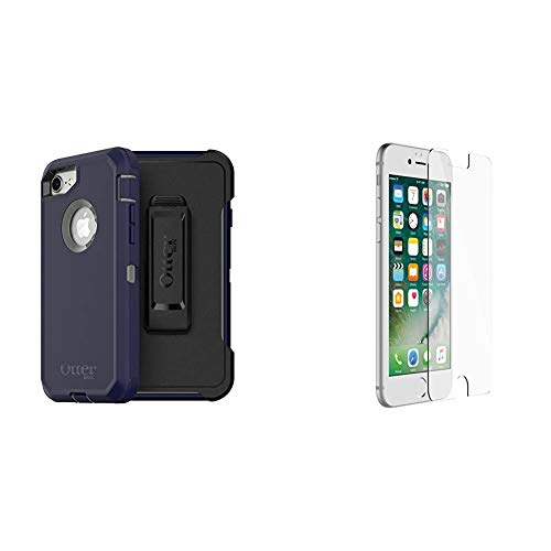 OtterBox Defender Series Case for iPhone SE (2nd gen - 2020) and iPhone 8/7 (NOT Plus) - Stormy Peaks (Agave Green/Maritime Blue), Single & Alpha Glass Series Screen Protector - Clear