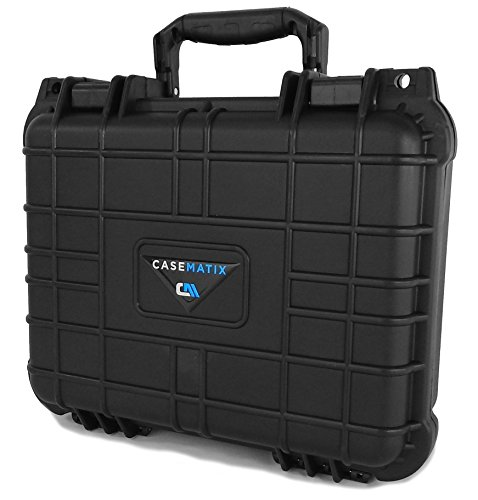 CASEMATIX Waterproof Customizable Projector Carry Case for TENKER Q5 Projector 1500 LUX LCD, Remote Control, Cables and Compact Accessories