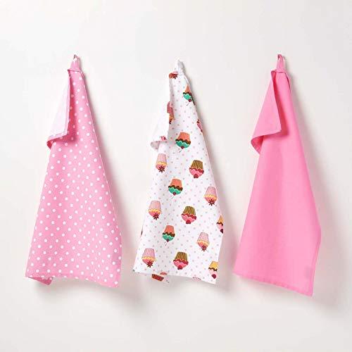 Homescapes – Pur Coton – Torchons Vaisselle – Lot de Trois - Petits Gâteaux – Rose Bleu – 18 x 32 cm - Linge de Cuisine Entièrement Coordonné et Lavable