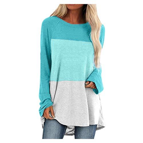 COOPCUP Blusas de las mujeres Tops Feitong rayas bloque de color túnica blusa mujeres más tamaño manga larga O-cuello camisetas casual suelta