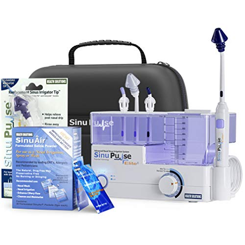 SinuPulse Elite Advanced Nasal Sinus Irrigation System with 30 Additional SinuAir Packets, Additional Replacement Sinus Irrigator Tip, Travel Case, and Bonus eBook by Dr. Robert S. Ivker