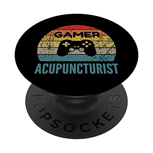 Gamer Acupuntor Vintage 60s 70s Gaming Gift PopSockets PopGrip: Agarre intercambiable para Teléfonos y Tabletas
