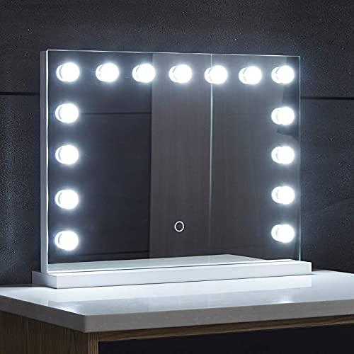 Aquamarin® Hollywood Spiegel - 3 Farbtemperatur Licht, Dimmbar, mit Beleuchtung, Touch, 15 LED Leuchten, 58 x 43 cm - Wand Tischspiegel, Kosmetikspiegel, Theaterspiegel, Make-up, Schminktischspiegel