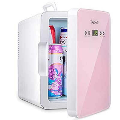 AstroAI Mini Fridge 6 Liter/8 Can Skincare Fridge for Bedroom - with Upgraded Temperature Control Panel - AC/12V DC Thermoelectric Portable Cooler and Warmer for Skin Care, Medications, Pink