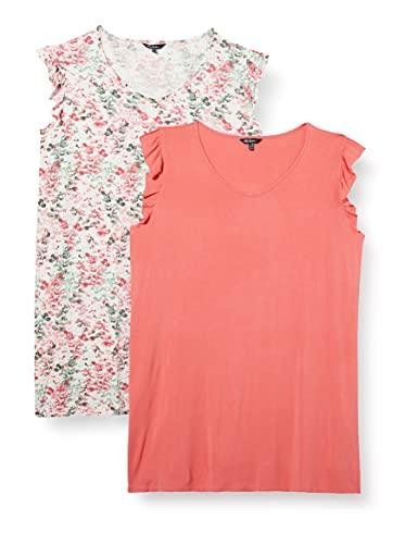 Ulla Popken Damen Big-Shirt 2er Pack, Eucalyptus Nachthemd, Hellrosa, 46+