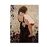 ThinkingPower Cuadros Decorativos Famosa Pintura Abstracta Madre e Hijo de Gustav Klimt, Impresiones artísticas para Pared, decoración de imágenes 60x90cm