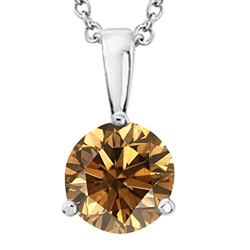 5 Carat Platinum Round Brown Diamond 3 Prong Solitaire Pendant Necklace (AAA Quality) W/ 16' Gold Chain