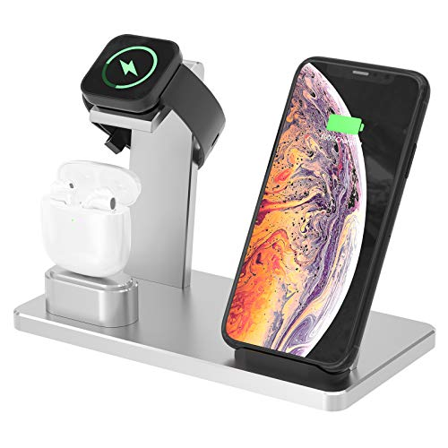 YOMENG Estación de Carga inalámbrica, 3 en 1 Base de Carga rápida de Aluminio para iPhone 12/12 Pro /12 Mini/11 Pro MAX/XS/XR/XS MAX/8 Plus, Soporte de Cargador para iWatch Series 6/5/4/3/2/1(Plata)