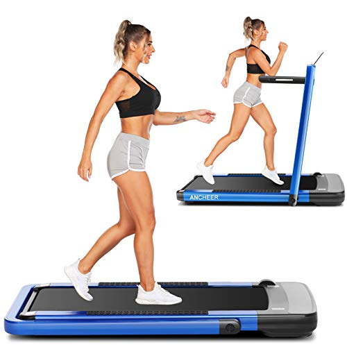 ANCHEER 2in1 Folding Treadmills for Home,2.25HP Electric Under Desk Treadmill Workout with Remote&APP Control,LED Display,Indoor Walking Jogging Running Exercise Machine Installation-Free (Blue)