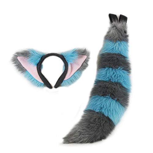 Pawstar Cheshire Fox Cat Furry Adult Costume Ear Headband Mini Tail