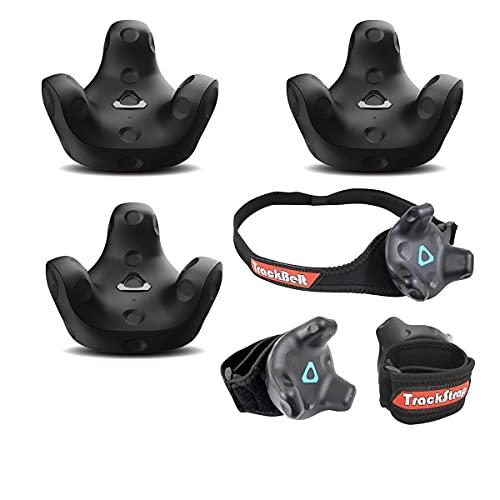 HTC 3 Pack VR Vive Tracker (3.0) - with Rebuff Reality TrackBelt + 2 TrackStraps Full Body Tracking VR Bundle, Black