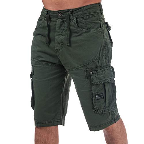 Mens Crosshatch Black Label Chaseforth Cargo Shorts in Olive