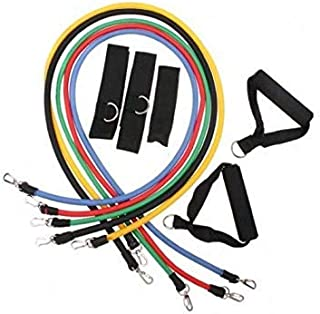 11pcs Latex Resistance Bands Fitness Exercise Tube Rope Set Yoga ABS P90X Workout [H8329 ]
