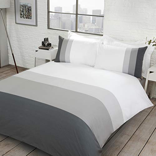 Sleepdown Colour Block Grey Reversible Soft Easy Care Duvet Cover Quilt Bedding Set with Pillowcases - Double (200cm x 200cm)