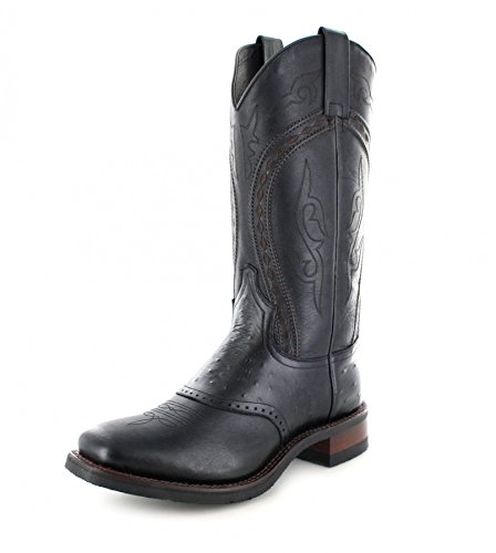Sendra Boots Herren Cowboy Stiefel 8048 Negro Westernreitstiefel Westernstiefel Schwarz 48 EU