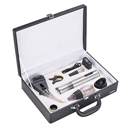 Juego de regalo de herramientas de vino, herramientas de vino Conjunto de regalo Abrote de botellas eléctricas automáticas con vino VIRUM Vacío Tapón de vino Decantador de vino Anillo de vino Corkscre