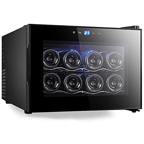 JLKDF Mini refrigerador de Vino de 8 Botellas, refrigerador termoeléctrico para Bodega, refrigerador de Vino de Humedad Constante de encimera pequeña, estantes de Madera, Puerta de vidri