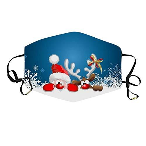 Xiangdan Mundschutz mit Weihnachten Motiv Waschbar Schlauchtuch Bunt Wiederverwendbar Atmungsaktiv Mund und Nasenschutz Stoff Tuch Halstuch Bandana (A1)