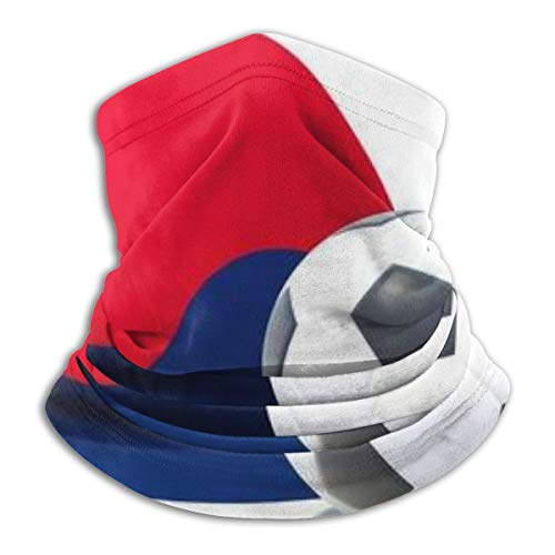 Flag Of Korea South With Football In Front Of It Neck Gaiter Tube Scarf UV Resistant Sport Headwear Cold Weather Winter Warmer Face Mask for Unisex Outdoor Fishing Hiking Running Cycling Balaclavas