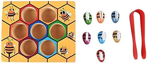 CamKpell Niños Clip Colmena Juegos Inteligencia Color Cognición Juguetes Clip Pequeño Juguete de la Abeja De Madera Herramientas de educación de la Primera Infancia 1 Tamaño