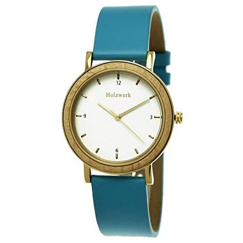 Reloj de pulsera analógico de Holzwerk Germany, para mujer, de madera natural, con correa de piel, analógico, de cuarzo, azul, turquesa, dorado y marrón