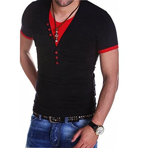 SSBZYES Camiseta De Verano para Hombre Camiseta De Manga Corta para Hombre Camiseta con Cuello En Falso Dos Piezas De Camiseta Casual De Manga Corta con Cuello En V para Hombre Camiseta De Fondo