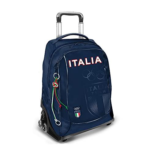 A & F CONI Zaino con trolley Italia Team, 3 Ruote, Colore Blu con stampa lucida, Zaino scomparti con chiusura zip e spallacci regolabili, Zaino impermeabile con tessuto ecosostenibile (Blu)