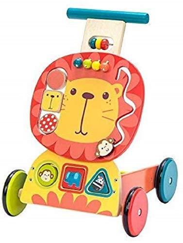 labebe Kinder 3-in-1 Lauflernwagen Holz Gelber Löwe Lauflernhilfe Kinderwagen Aktivität Walker Push Pull Spielzeug für 1-3 Jahre
