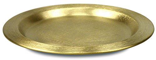 Christliche Geschenkideen °° Kerzenuntersetzer aus Messing, ca. 11cm (goldfarben)