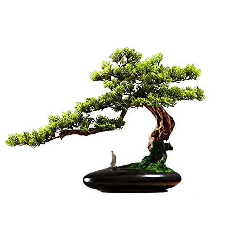 WENMENG2021 Decoración Árbol de Pino Artificial Bonsai, Planta en Maceta Faux de 13 Pulgadas, Ornamentos de Olla de árbol Falsos Cedar Bonsai Plant para Pantalla de Escritorio Plantas Falsas