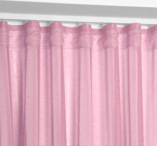 BEAUTEX Vorhang mit U-Band 140x250 cm (Farbe Wählbar) transparente Kräuselband Gardine, Dolly (Altrosa)