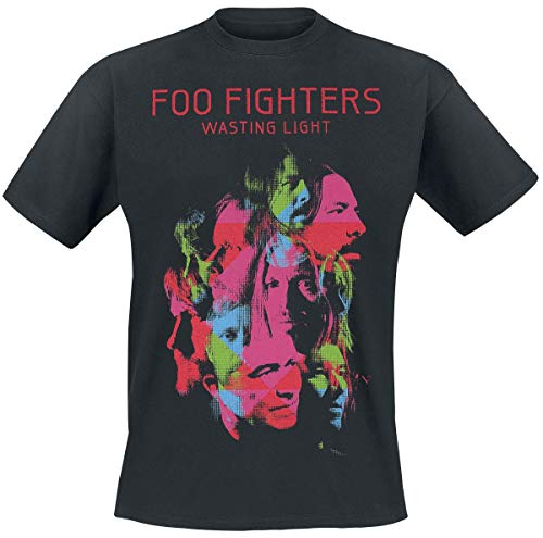 Foo Fighters Camiseta Oficial de Manga Corta con Estampado Wasting Light - Negro L