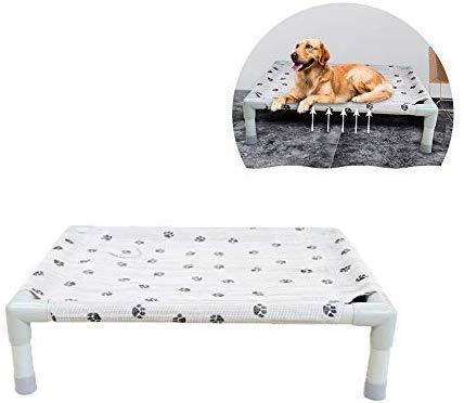 Hondenbed voor huisdieren met hoge koeling en verhoogd hondenbed, waterdicht, kat, ademende mand, voor binnen en buiten, voor strand, picknick, 58 x 42 x 16 cm, S 58x42x16cm