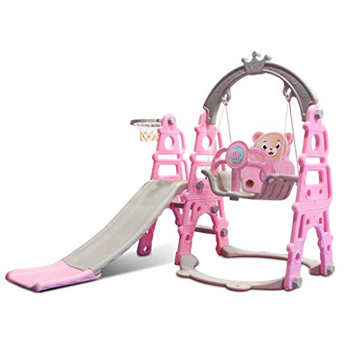Slide and Swing Set,Toddlers 3 in 1 Kids Slide Sturdy Toddler Playground Climber Slide Playset Basketball Hoop,Learning Panel for Indoor & Backyard, Infant Playground Yard Games