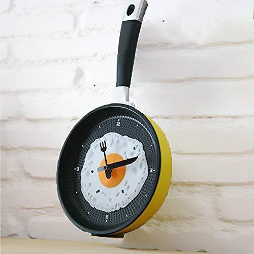Luyshts Novedad Creativa Única Parte Inferior Plana Omelette Pot Reloj De Pared Mute Reloj Digital Sala De Estar Dormitorio Comedor Reloj De Pared Decorativo