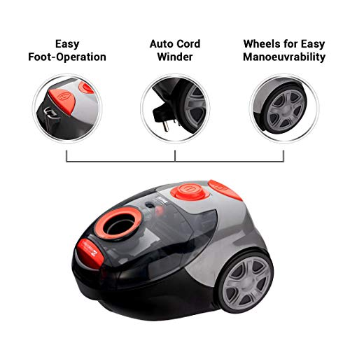 Eureka Forbes Sure From Forbes Rapid Clean Vacuum Cleaner 1150 Watts (Red & Black).